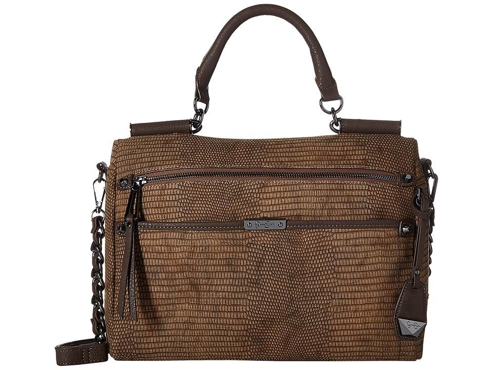 Jessica Simpson - Deven Frame Satchel Crossbody (Henna/Chocolate Lizard) Cross Body Handbags