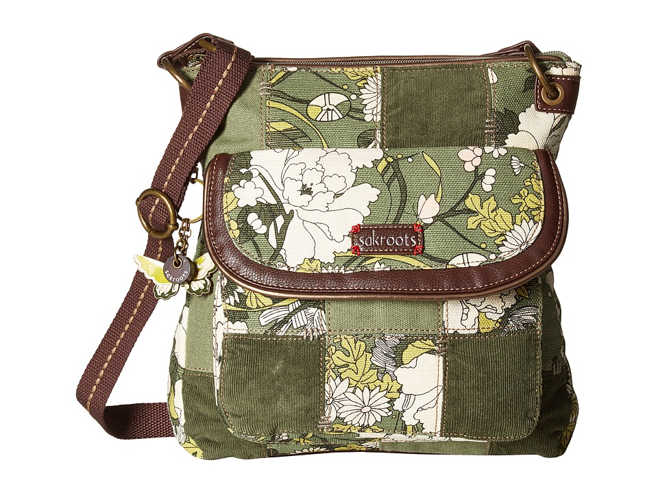 Sakroots - Artist Circle Flap Crossbody (Olive Flower Power Patch) Cross Body Handbags