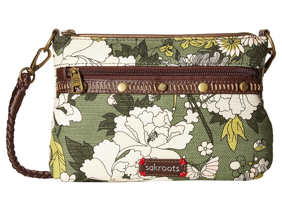Sakroots - Artist Circle Campus Mini (Olive Flower Power) Cross Body Handbags