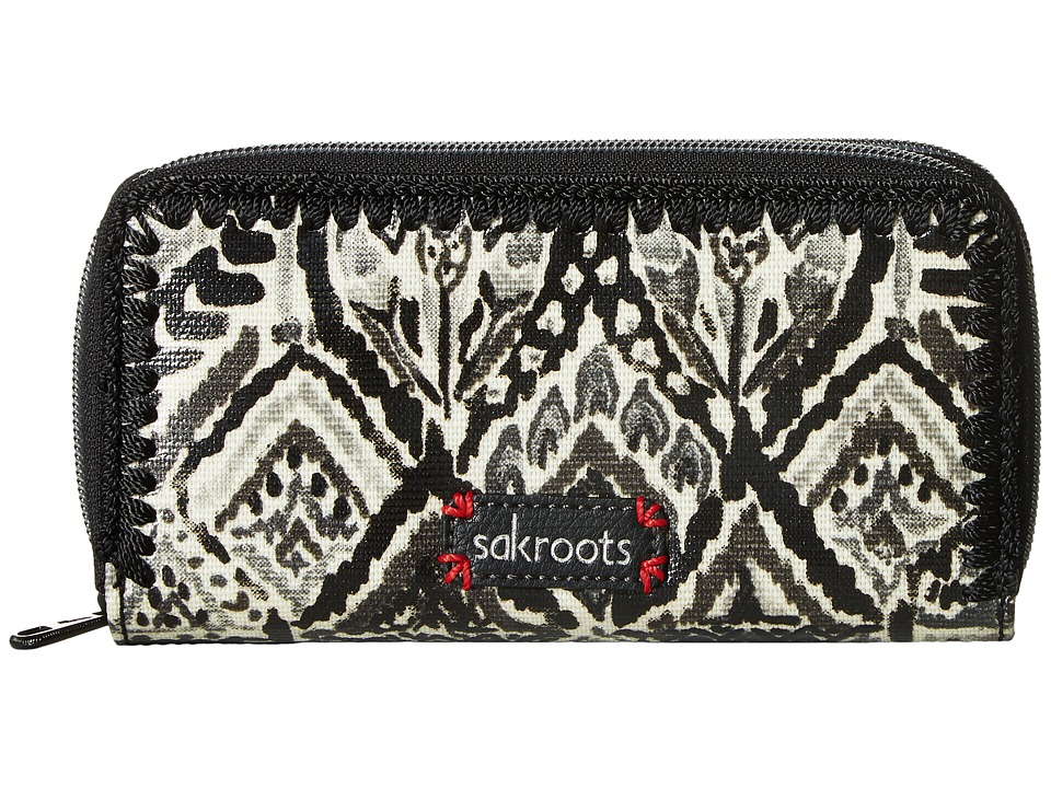 Sakroots - Artist Circle Double Zip Wallet (Jet Brave Beauti) Wallet Handbags