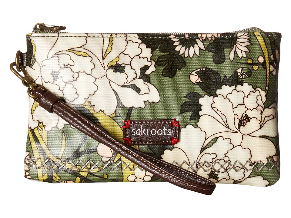 Sakroots - Artist Circle Phone Charging Wristlet (Olive Flower Power) Wristlet Handbags