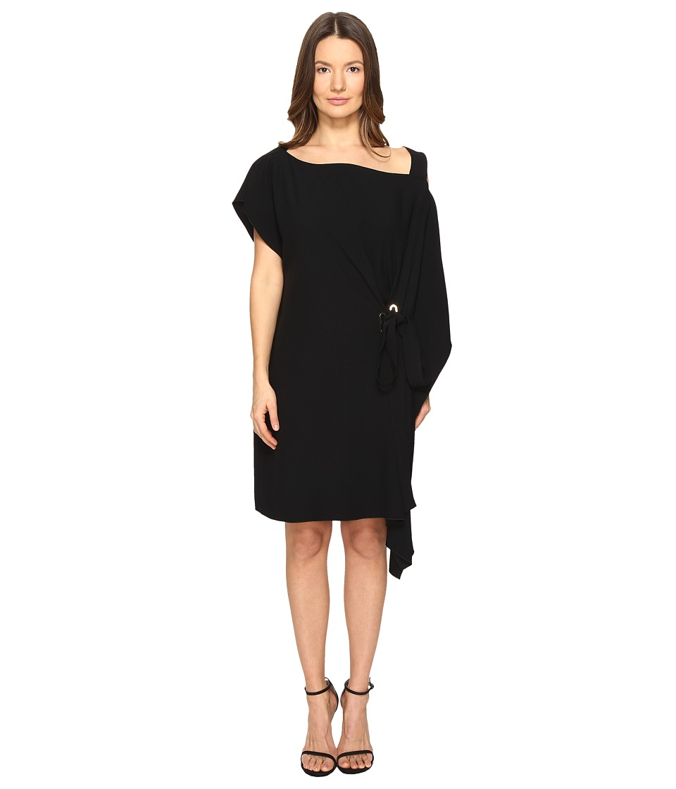 Image of Alberta Ferretti - Draped One Shoulder Dress (Black) Women's Dress