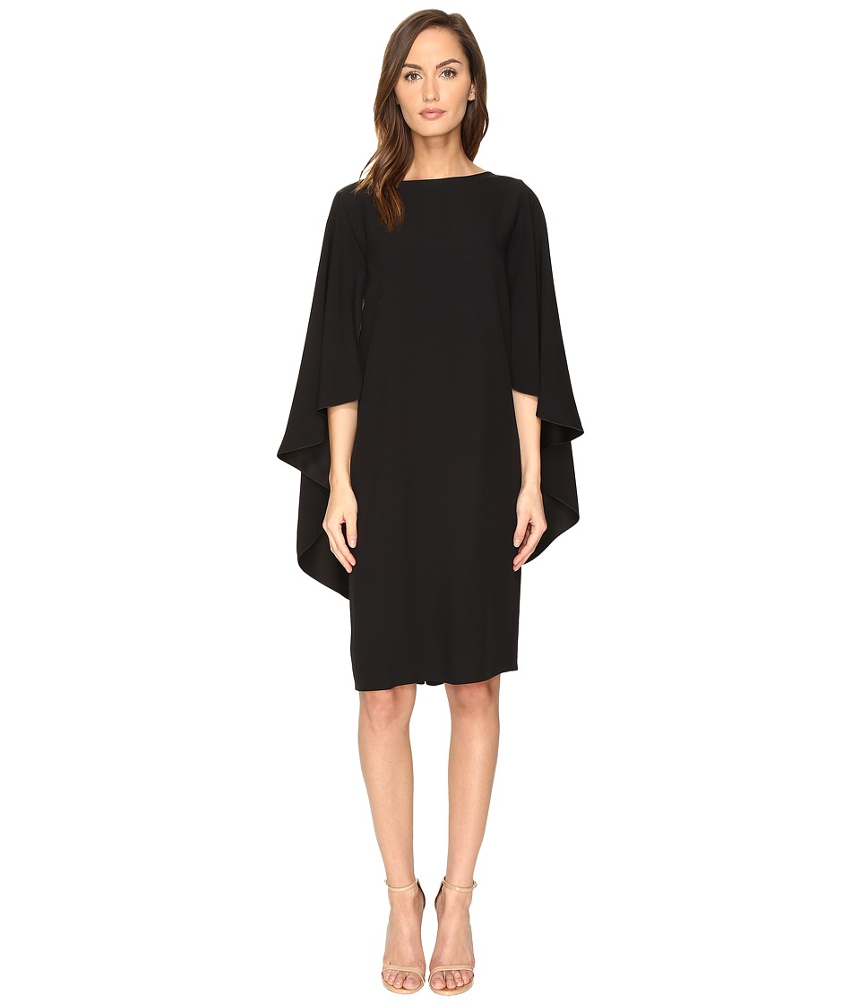 Image of Alberta Ferretti - Boat Neck Cape Dress (Black) Women's Dress