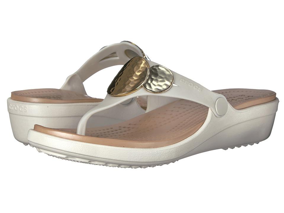 Crocs - Sanrah Embellished Wedge Flip (Oyster/Gold) Womens Wedge Shoes
