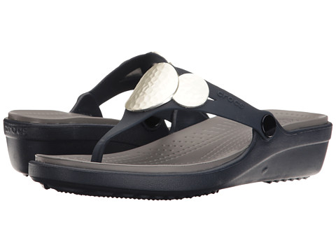 Crocs Sanrah Embellished Wedge Flip - Navy