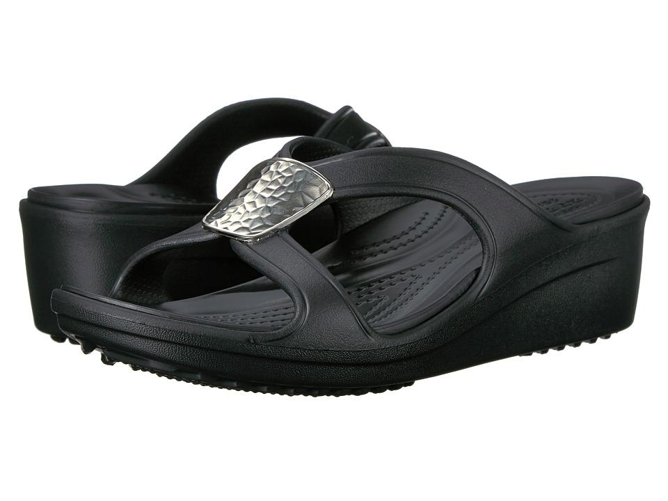 Crocs - Sanrah Embellished Wedge (Black/Silver Metallic) Womens Wedge Shoes