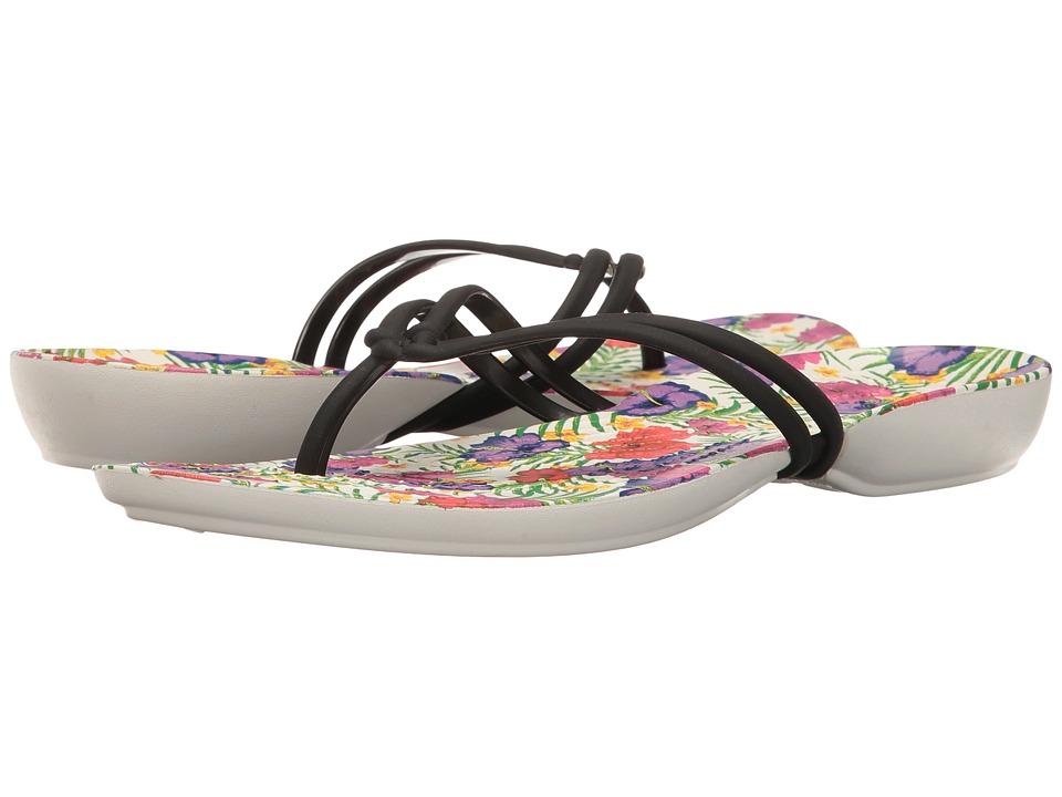 Crocs - Isabella Graphic Flip (Black/Floral) Womens Sandals