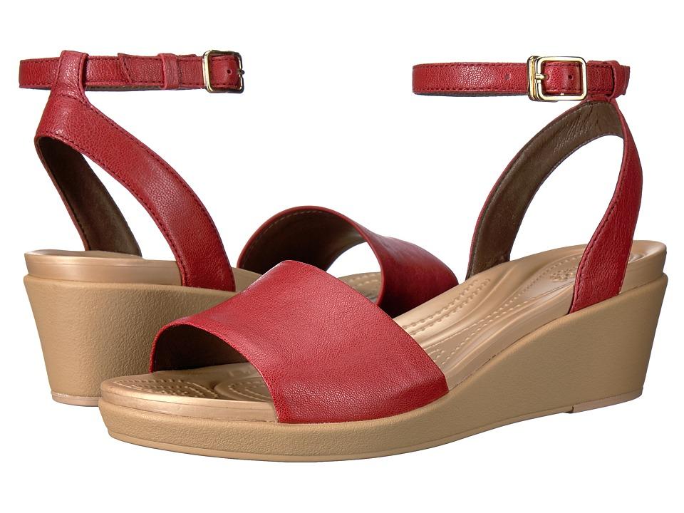 Crocs Leigh-Ann Ankle Strap Leather (Garnet) Women