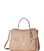 COACH - Madison Nubuck Lizard Large Sadie Flap Satchel