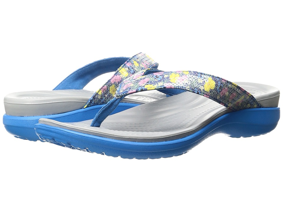 Crocs Capri V Graphic Sequin Flip (Ocean) Women