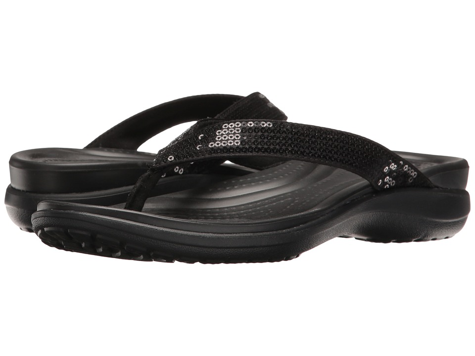 Crocs - Capri V Sequin (Black) Women's Sandals