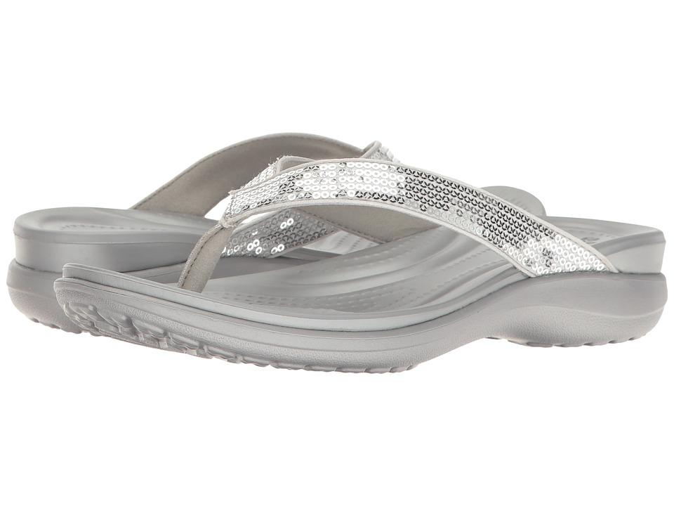 Crocs Capri V Sequin (Silver) Women's Sandals