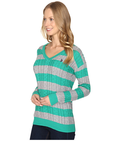 womens imported polo assn stripe cable vneck dress evening blue