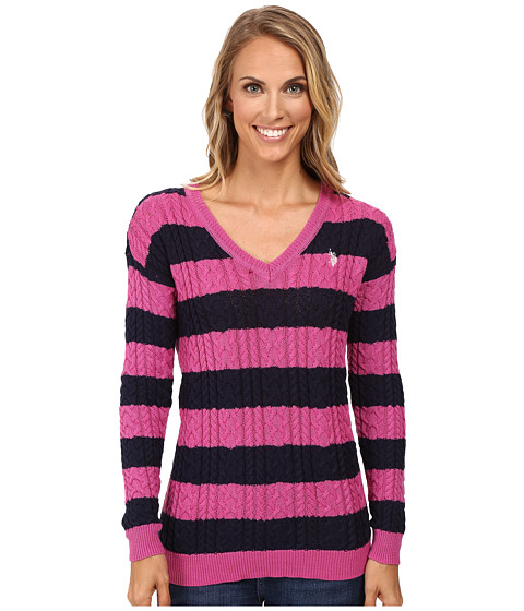 U.S. POLO ASSN. 7 Gage Stripe V-Neck Cable Knit Sweater