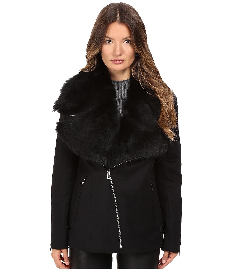 LAMARQUE Kiri Biker Coat w/ Detachable Shearling Collar (Black) Women