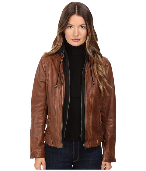 LAMARQUE Arlette Moto Jacket with Removable Hoodie - Rawhide