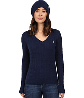 U.S. POLO ASSN. - V-Neck Cable with Beanie