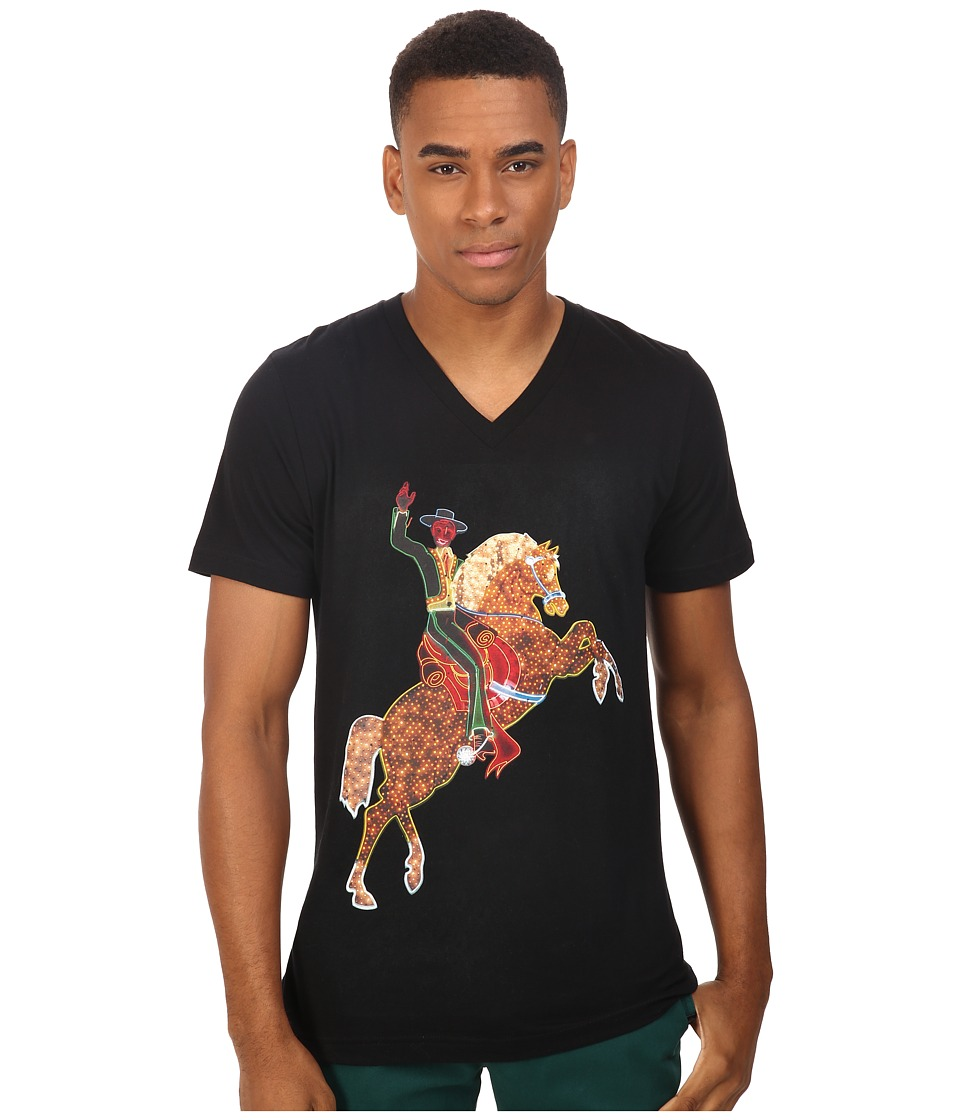 Life is Beautiful - Neon Horse - V-Neck Tee (Black) T Shirt