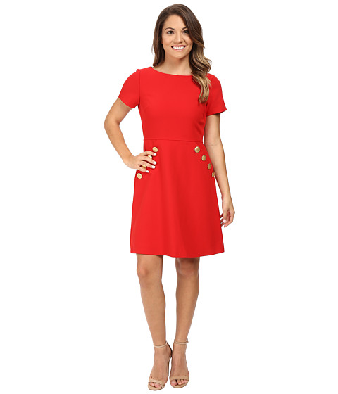 Tahari by ASL Petite Petite Crepe Button Pocket Fit and Flare