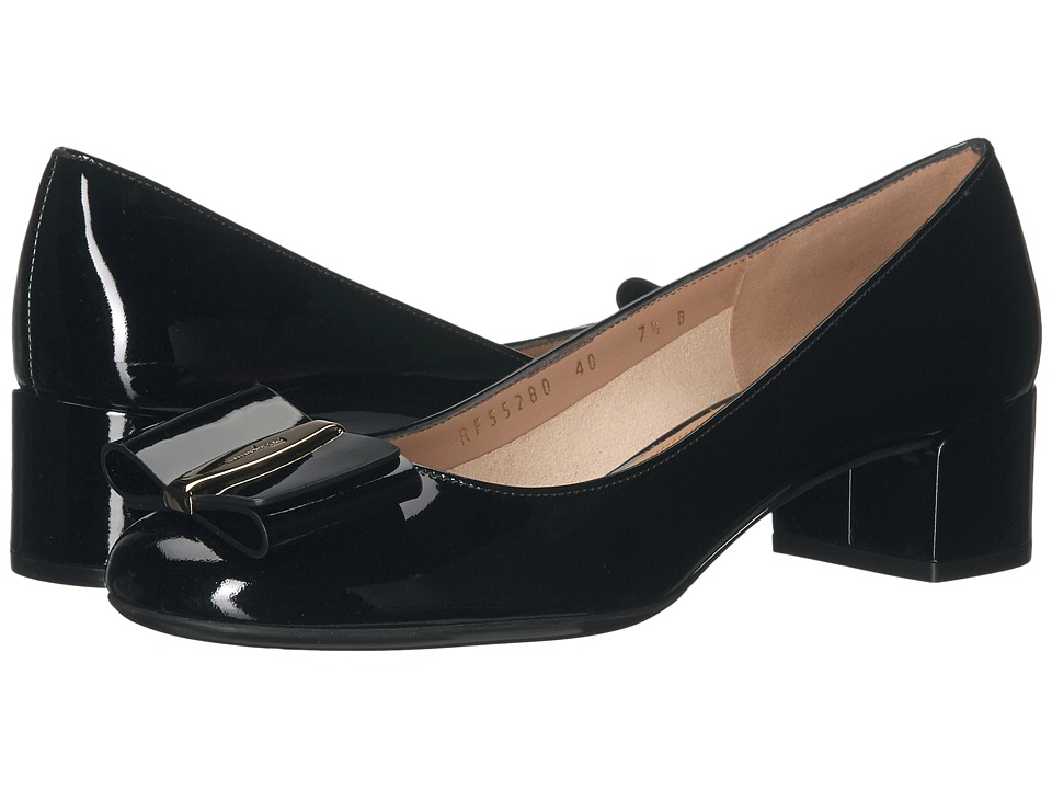 Salvatore Ferragamo Patent Leather Low-Heel Pump (Nero Naplak Pesan) High Heels