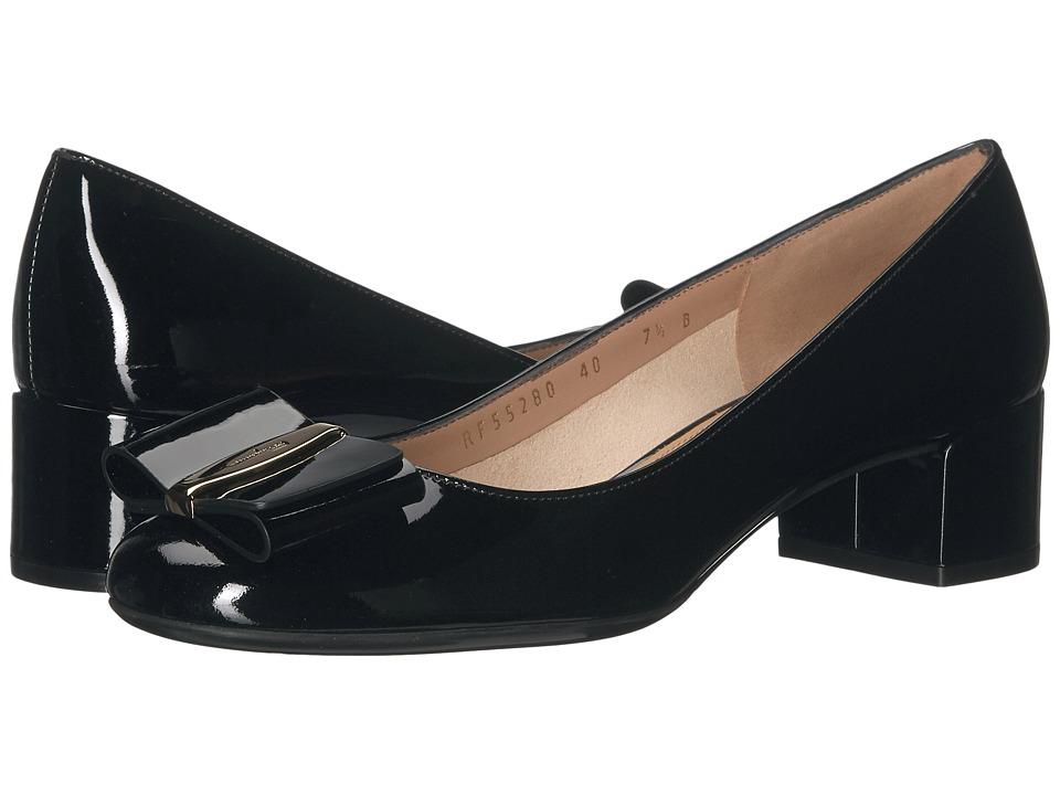 Salvatore Ferragamo Patent Leather Low-Heel Pump (Nero Naplak Pesan) High Heels
