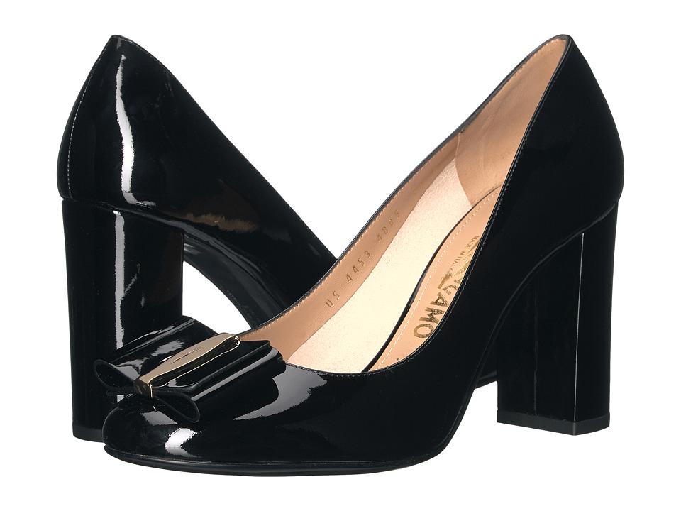 Salvatore Ferragamo Elinda 85 2 (Nero Naplak Pesan) High Heels
