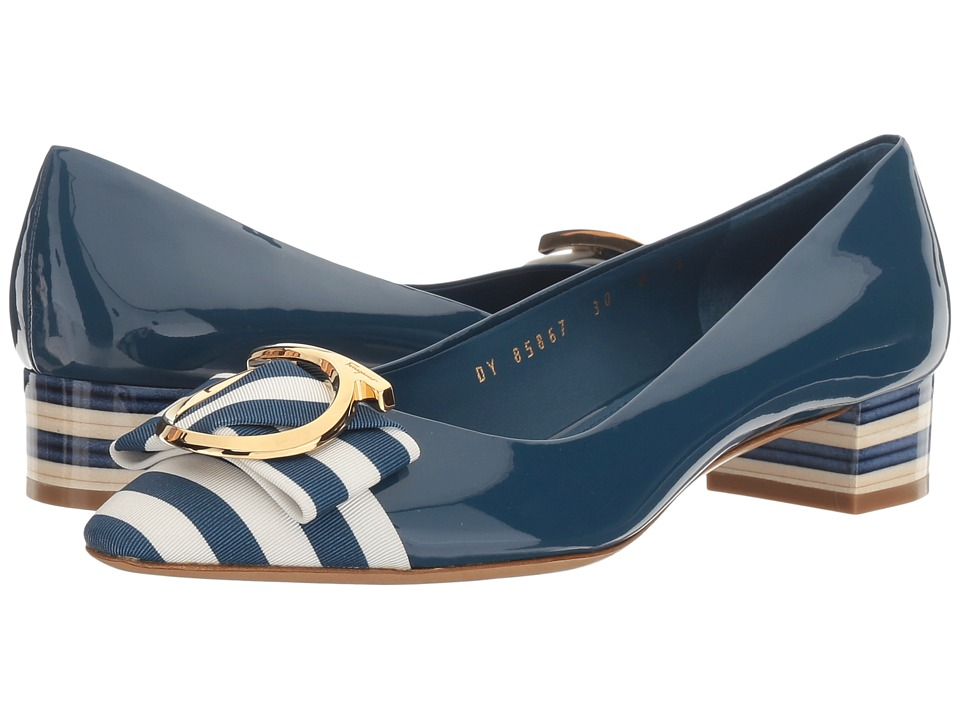 Salvatore Ferragamo Ezia 30 Stripe (Pacific Patent) High Heels