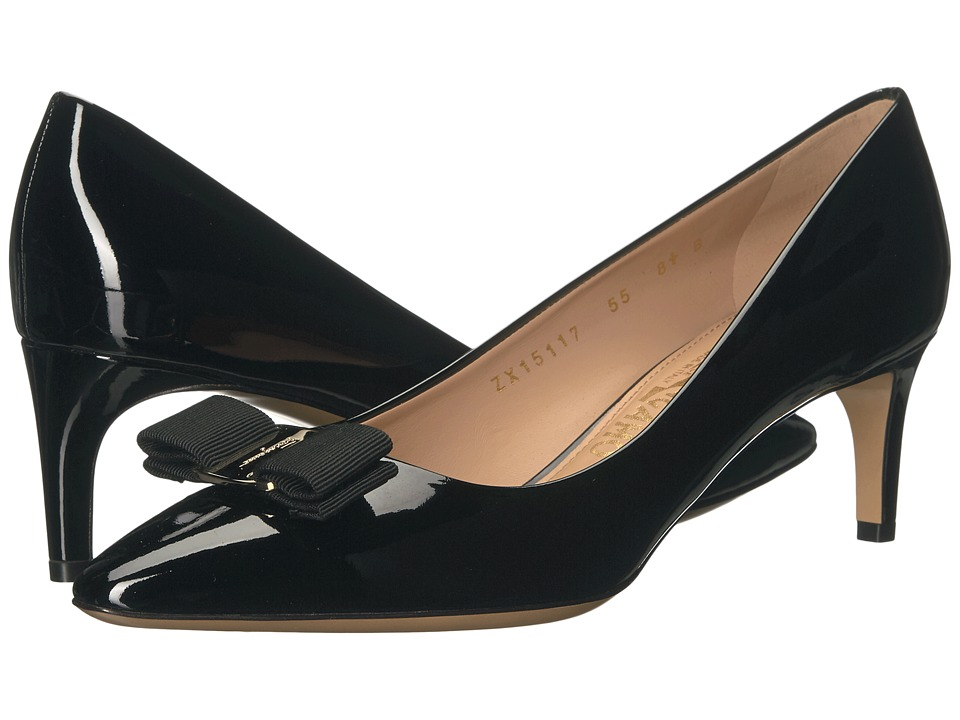 Salvatore Ferragamo Leather Mid-Heel Pump (Nero Patent) High Heels