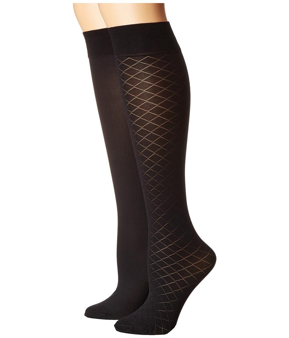 Cole Haan - 2-Pair Textured Knee High (Black) Women