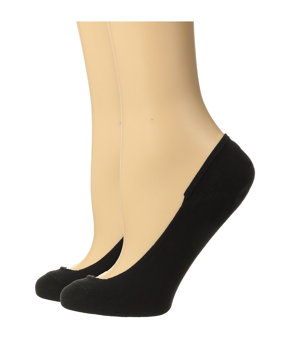 Cole Haan - 2-Pair Ballet Liner (Black) Womens Crew Cut Socks Shoes