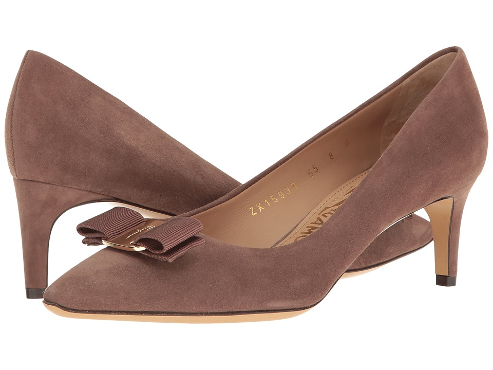 Salvatore Ferragamo Emy 55 (New Moka Suede) High Heels