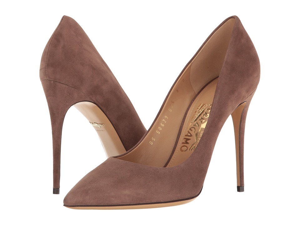 Salvatore Ferragamo Fiore 100 (New Moka Suede) High Heels