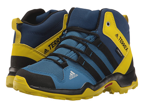 adidas Outdoor Kids Terrex AX2R Mid CP (Little Kid/Big Kid) - Core Blue/Black/Unity Lime