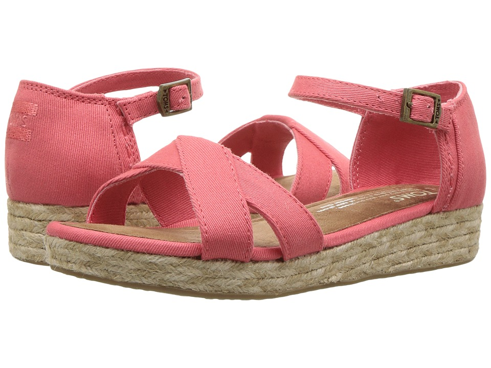 TOMS Kids - Harper Wedge (Little Kid/Big Kid) (Coral Cotton Twill) Girls Shoes