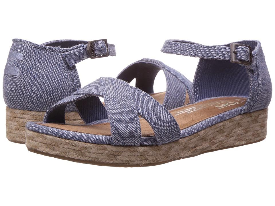 TOMS Kids Harper Wedge (Little Kid/Big Kid) (Blue Slub Chambray) Girls Shoes