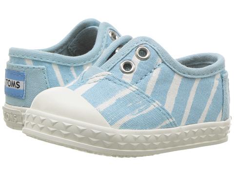 TOMS Kids Zuma Sneaker (Infant/Toddler/Little Kid) - Pale Blue Painted Stripe