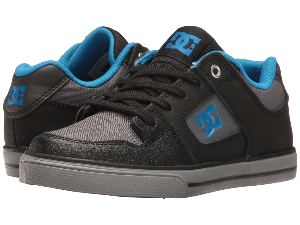 DC Kids Pure SE (Little Kid/Big Kid) (Black/Grey/Blue) Boys Shoes