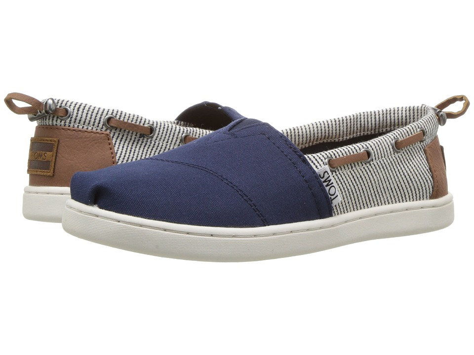 TOMS Kids Bimini Espadrille (Little Kid/Big Kid) (Navy Canvas/Stripes) Kids Shoes