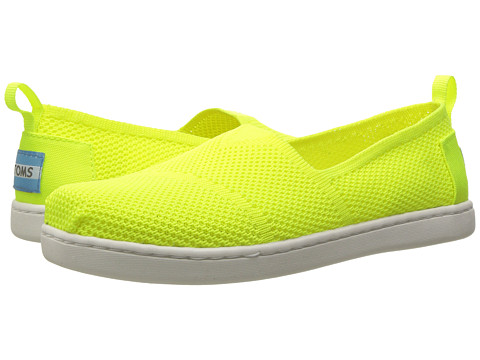 TOMS Kids Knit Alpargata Espadrille (Little Kid/Big Kid) - Neon Yellow Mesh