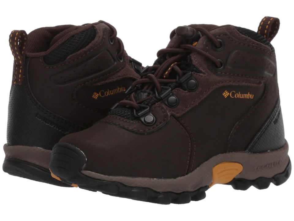 Columbia Kids Newton Ridge Waterproof (Toddler/Little Kid/Big Kid) (Cordovan/Golden Yellow) Kids Shoes