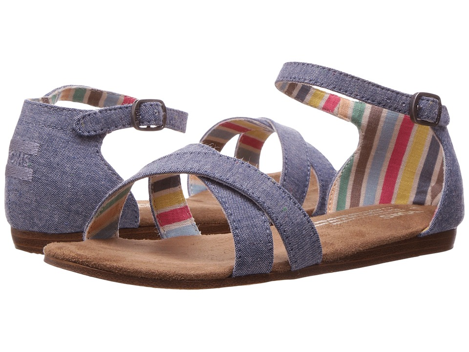 TOMS Kids - Correa Sandal (Little Kid/Big Kid) (Blue Multi Speckle Chambray) Girls Shoes