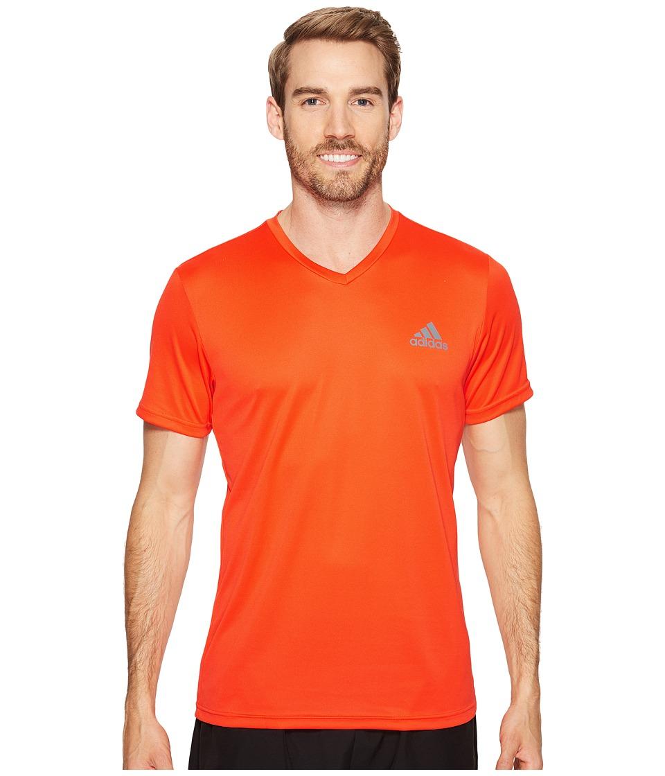 adidas Essential Tech V-Neck Tee (Energy S17/Vista Grey S15) Men