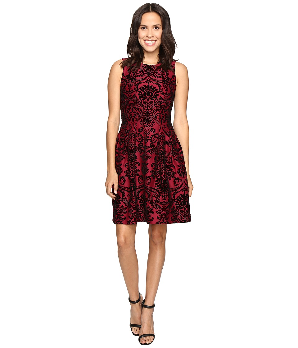 rsvp Martina Pleated Fit and Flare Flocked Dress (Merlot/Black) Women