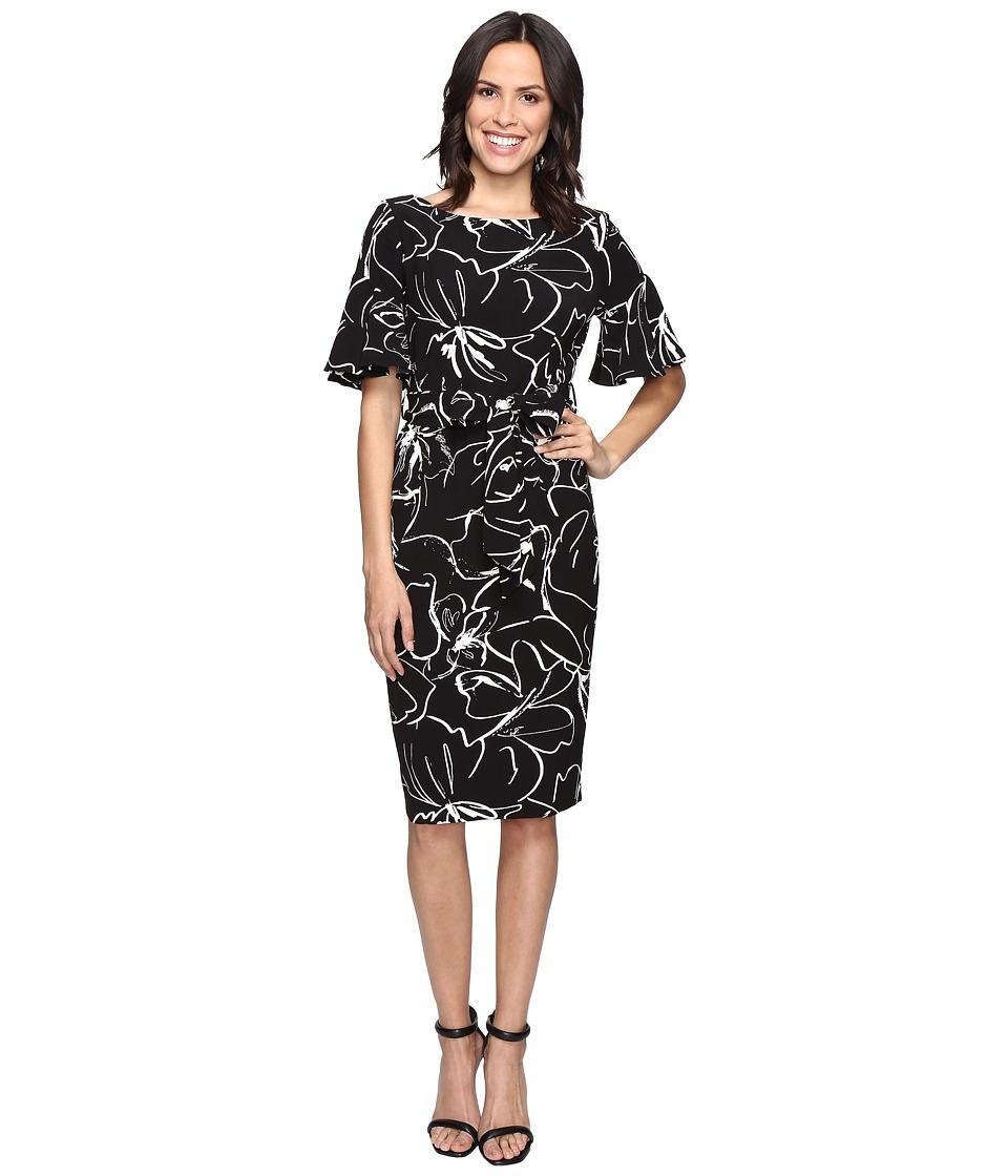 Christin Michaels Adoria Bell Sleeve Printed Crepe Midi Dress (Black/Ivory) Women