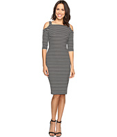 Christin Michaels - Lana Cold Shoulder Striped Midi Dress