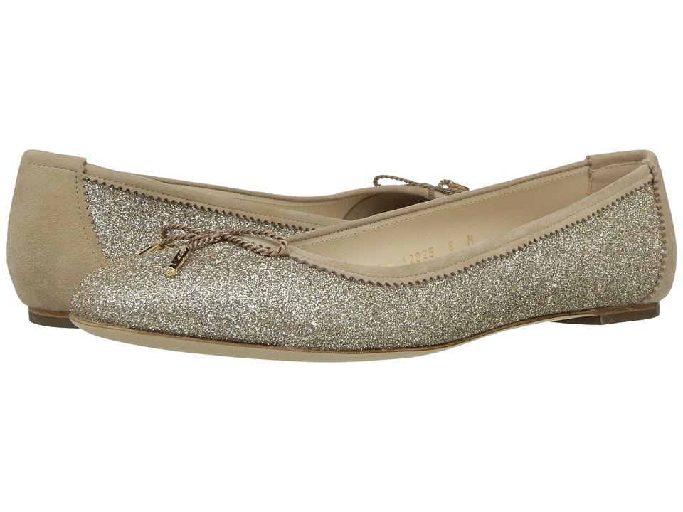 Salvatore Ferragamo Matte Glitter Ballerina Flat (Panna Matte Glitter) Women
