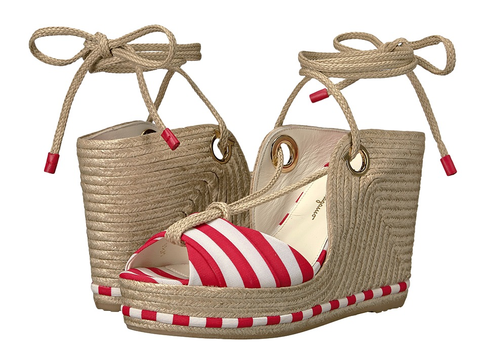 Salvatore Ferragamo - Evita (Pamplona/Panna Stripe Canvas) Women's Wedge Shoes