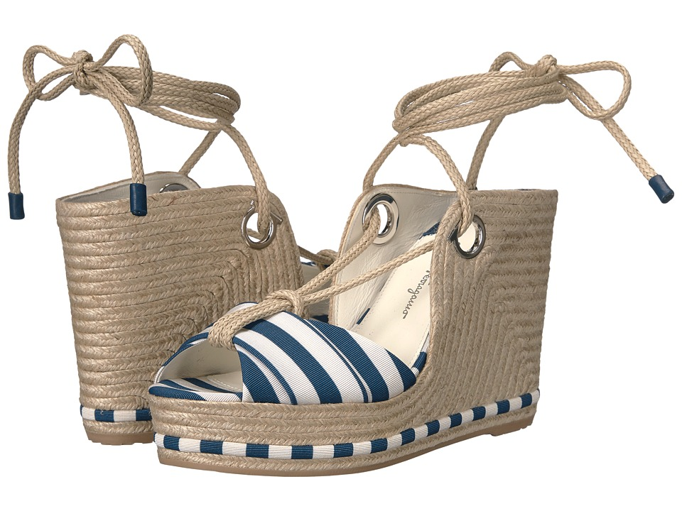 Salvatore Ferragamo Evita (Pacific/Panna Stripe Canvas) Women