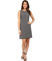Tahari by ASL - Houndstooth Print Shift with Leather Piping