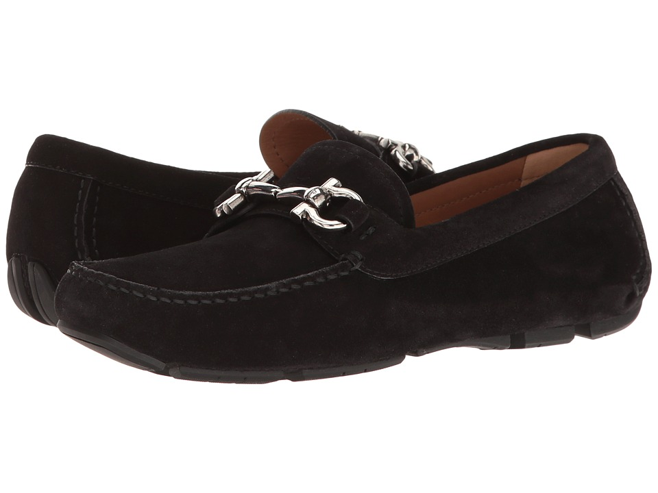 Salvatore Ferragamo Suede Driver With Ganico Buckle (Nero Crosta) Women